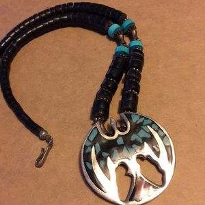 Vintage surfer dragon  inlaid turquoise necklace